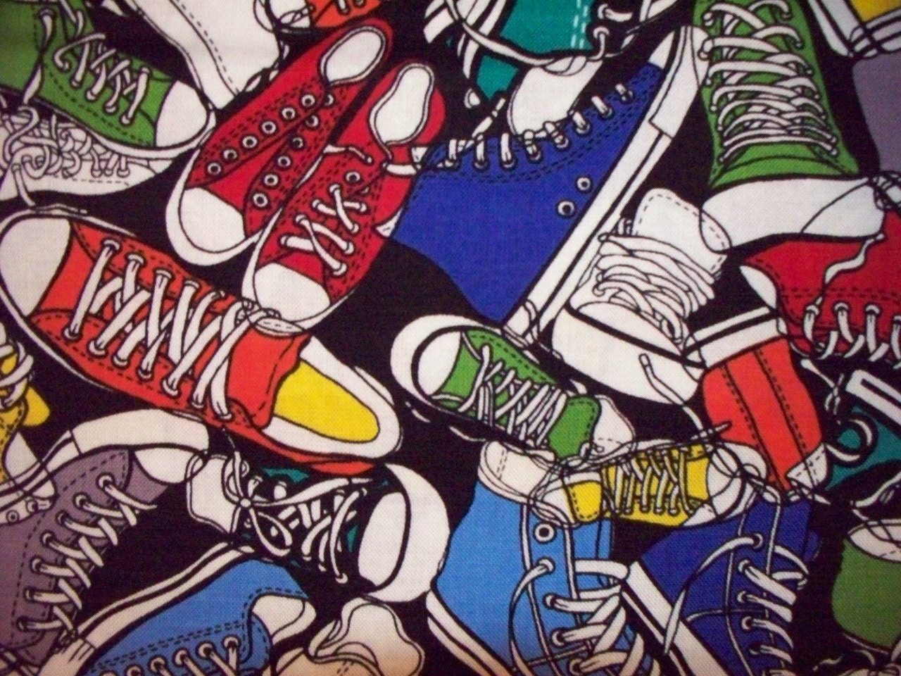 Tennis Shoe Print Fabric