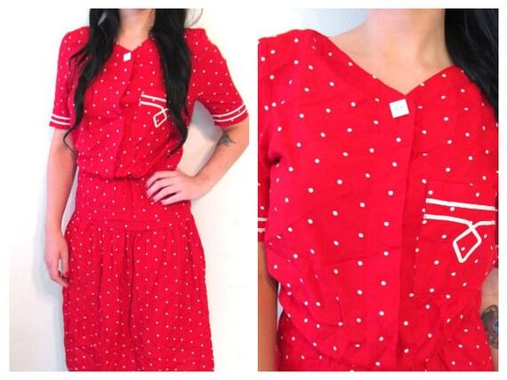 Red Polka Dot Drop Waist Dress
