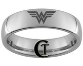 4mm Dome Tungsten Carbide Laser Wonder Woman Design Ring Sizes 5-15 - FREE Shipping