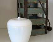 Vintage Milk Glass Apple Container