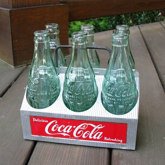 Coca-Cola Aluminum Bottle Carrier & Bottles