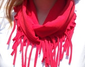 Red, Fringed, Infinity Scarf