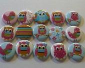 15 Polka Dot Hoot Owls Hollow back buttons Cabachon Scrapbook Bottlecap & Hair bow centers