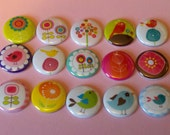 15 1 inch button set flat back Birds And Blossoms Scrapbooking Supplies Hair Bow inserts Bottle cap inserts Pink White Purple