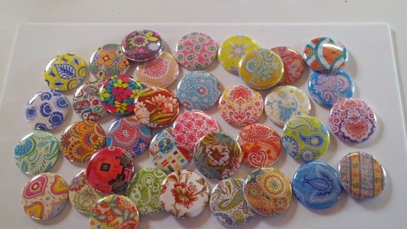 36 1 inch flat back buttons - Beautiful Bohemian Prints -- pendant supplies - diy jewelry supplies