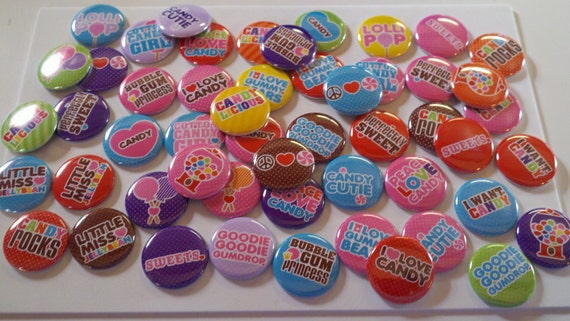 48 1 inch flat back buttons -- Give me Candy --- hair bow supplies