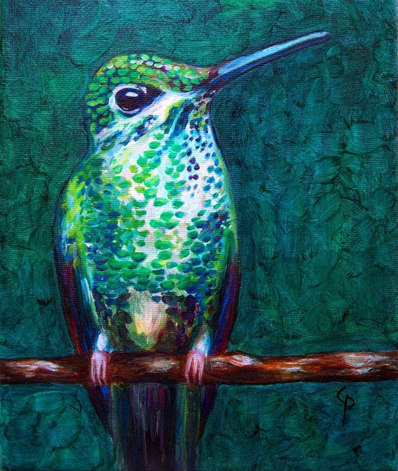 Hummingbird - oil painting 8x10 on canvas, ready to hang - Whimsical nature, bird art