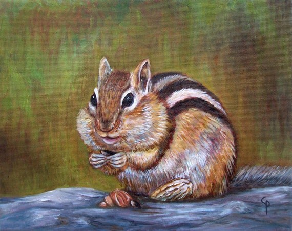 Chipmunk - original oil painting, 8x10 on canvas, ready to hang