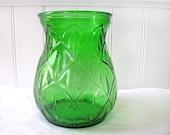 SALE - 1930s Depression Era Green Glass Vase