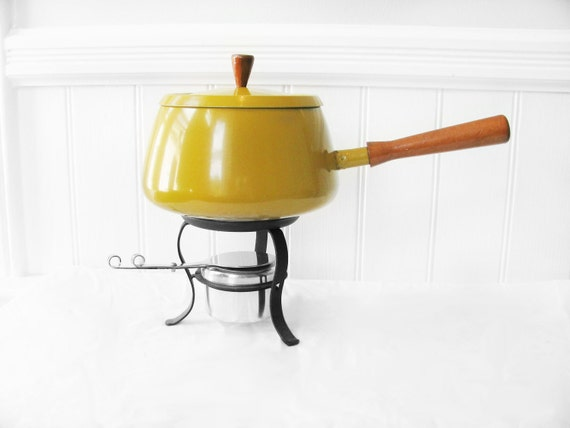 Retro Yellow Fondue Set