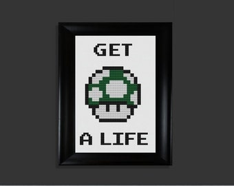 Get a Life Mario 1Up cross stitch pattern PDF