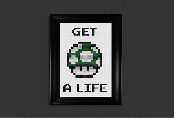 Get a Life Mario 1Up cross stitch pattern PDF