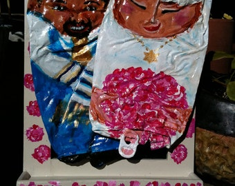 """REDUCED! Crushed Can Art Assemblage """"Daddy's Girl""""....A Gift for the Jewish Bride"""