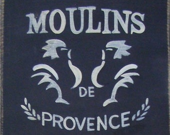 Moulins de Provence Sign French Rooster  Wall Sign Plaque HP Wood