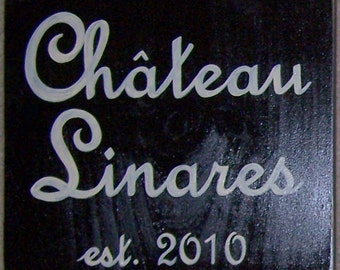 CHATEAU Custom French Country HP Sign Plaque Family Name Year Chic Shabby Personalized