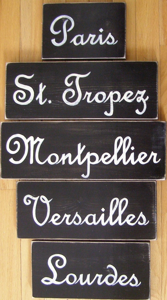 Custom French Italian German American City Sign in Script You Pick City Wooden Hand Painted You Pick Color