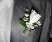 White Prom Boutonniere For  Formal With White Rose
