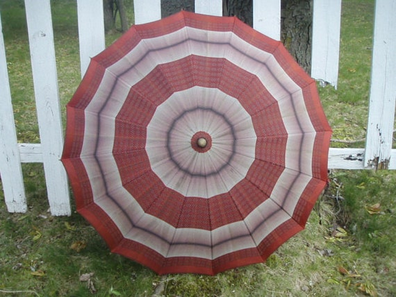 Vintage Umbrella  Gorgeous Rust Red Rayon With Polka Dots and Stripes