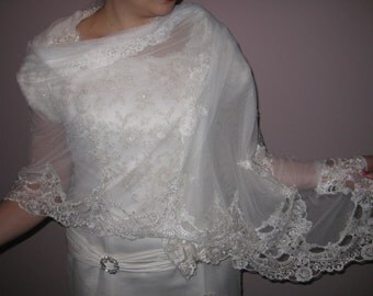 Bridal lace shawl - wedding lace shawl