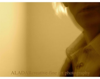 """Dreamy Women with White Collar in Vintage """"Reflection I"""" Sepia Print - fine art photography 10"""" x 13"""""""