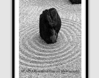 "Modern Wall Decor for Home or Office Feng Shui ""Zen Garden / Sketches from Kyoto""  Digital Print fine art photography 8"" x 10"""