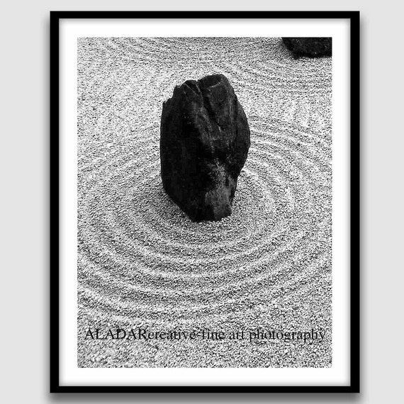 """Modern Wall Decor for Home or Office Feng Shui """"Zen Garden / Sketches from Kyoto""""  Digital Print fine art photography 8"""" x 10"""""""