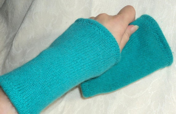 Angora wrist warmers with lambs wool turquoise green