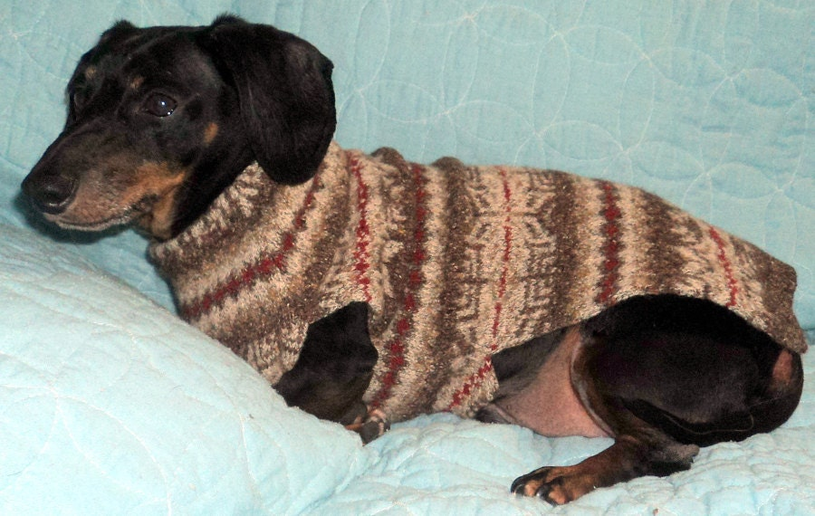 Dachshund dog coat sweater jumper Fair Isle knit First