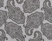 SALE Black & Gray Paisley Cotton Fabric by the Yard