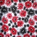 SALE Beautiful Black Red White Flowers Cotton Fabric by the Yard