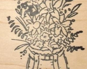 Adirondack Pack Basket with Flowers - Wood Mounted Rubber Stamp
