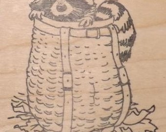 Adirondack Pack Basket with Raccoon - Wood Mounted Rubber Stamp