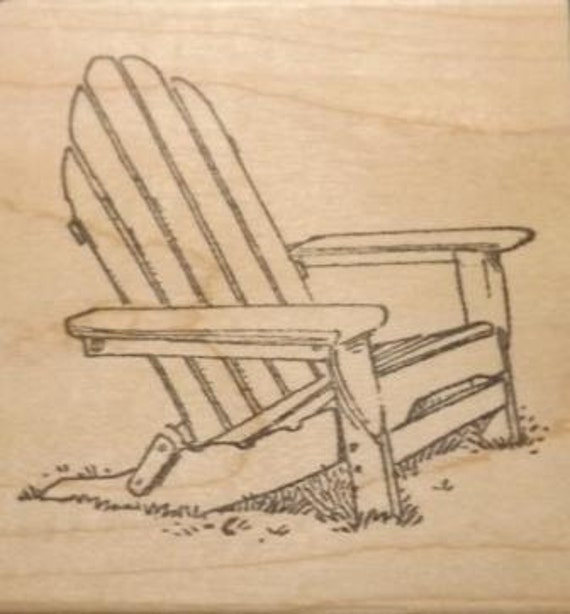 Large Adirondack Chair Wood Mounted Rubber Stamp