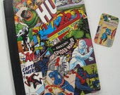 Comic Book Heroes Altered Composition Notebook With Free Gift Tag and Pen