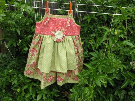 Girls Dress with attached apron Size 6 Ready to Ship