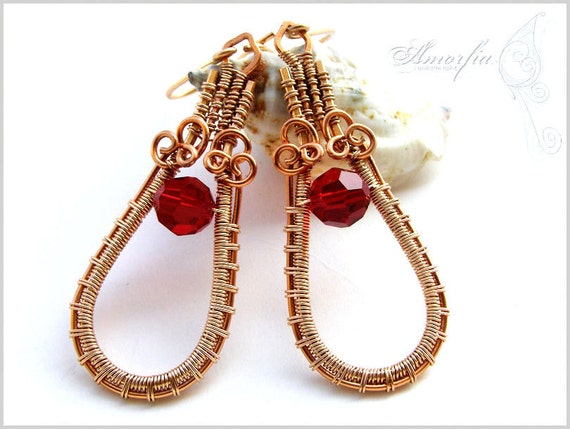 Red swarovski crystal, bronze and copper wire wrapped earrings