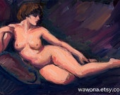 Reclining nude 5x7 oil sketch original in browns and peach