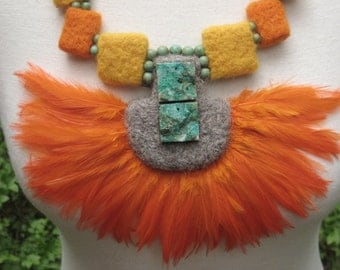 FELTED NECKLACE INCA Needle felted Feather Felt Chrysocolla Turqoise Velvet Summer