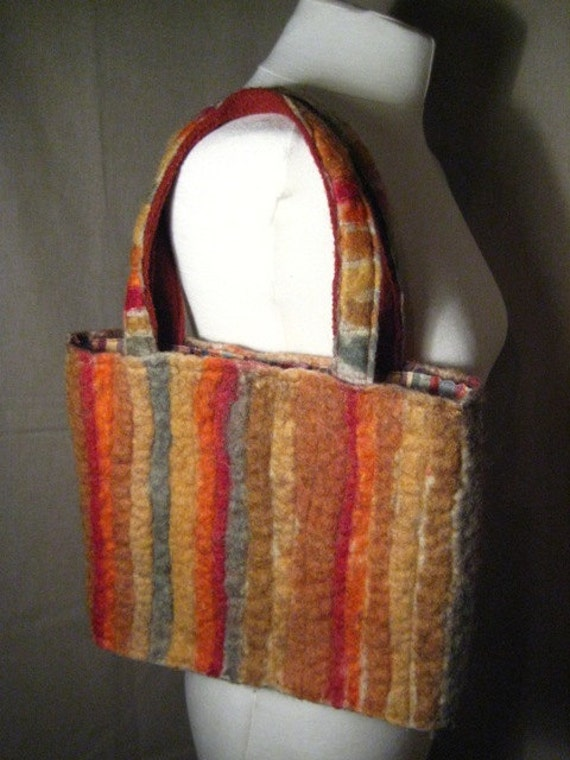 FELTED BAG Wet Felted Quilted Rainbow Eco Ethnic Tribal Unique Recycled