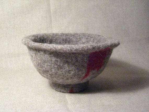 FELTED BOWL Needle Grey Red Soft Unique Felt Art