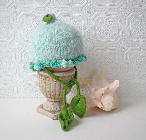 Baby Hat, Water Fairy, Aqua with Blue Poms, Toddler Hat