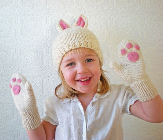 Bunny Paw Mittens, White and Pink, Baby and Children, Warm Washable Wool