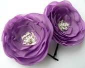 Lavander Wedding Flower Hair Clips - Set of 2 Bobby Pins Made Of Polyester Fabric, Beads, Silver Tone Rhinestones