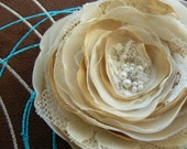 RESERVED FOR LAURA - Champagne, Cream Bridal Flower Hair Clip/Brooch Made Of Polyester Fabric, Organza, Satin, Lace, Rhinestones
