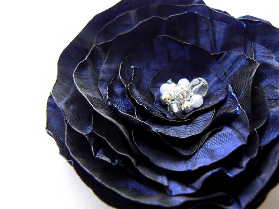 Navy Blue Wedding Flower Hair Clip/Brooch Made Of Taffeta, Pearls/Beads, Silver Tone Decors