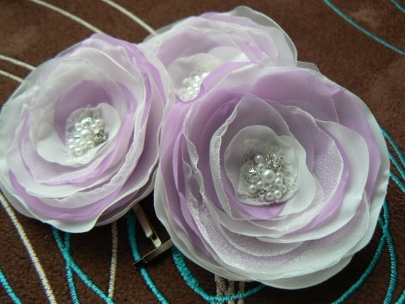Ivory, Lavander Wedding Flower Hair Clips - Set of 3 Bobby Pins Made Of Polyester Fabric, Organza, Rhinestones, Beads