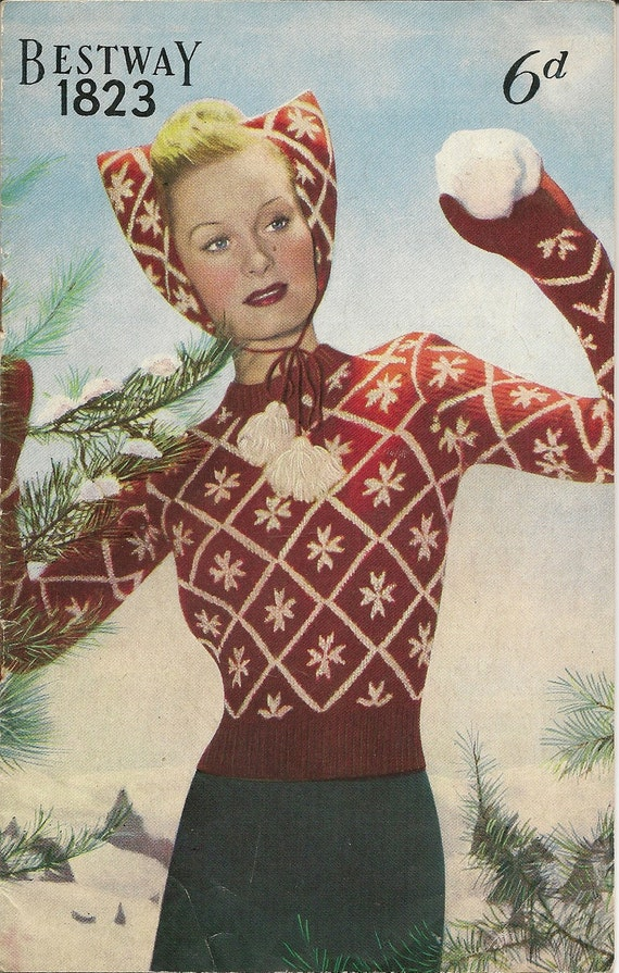 1940s Sewing Patterns – Dresses, Overalls, Lingerie etc 1940s Snow Queen SweaterHat & Mittens Bestway 1823 PDF $2.68 AT vintagedancer.com