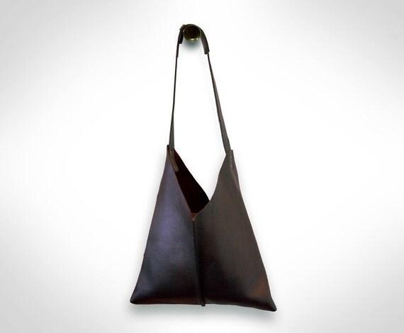 Brown Leather Satchel Handbag by J.O.D