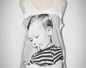 Smoking Children Signs Of Stupidity White Singlet Tank Top Sleeveless Art Indie Rock T-Shirt Size S