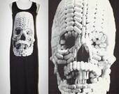 Pill Skull Halloween Charcoal Black Tank Top Long Dress Sleeveless Women Singlet Art Punk Rock T-Shirt Size S